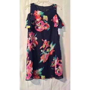 Kensie navy floral print chiffon dress size 10